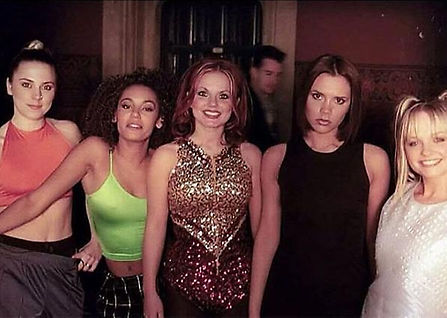 """A photo of the Spice Girls on the set of """"Wannabe"""" (Pinterest)."""