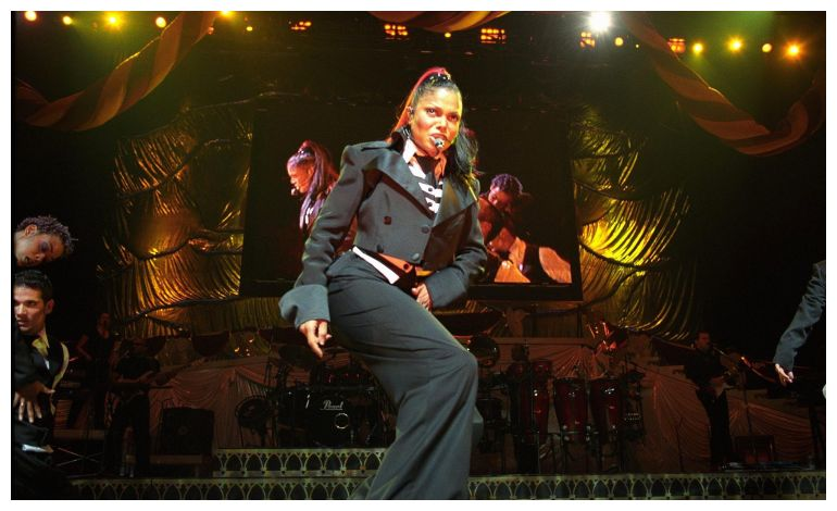 """Janet performing """"If"""" during the opening of the Velvet Rope Tour. Photo Source: Google."""