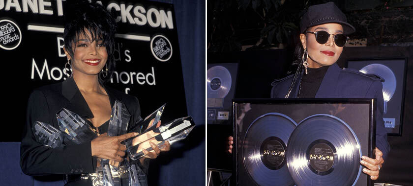 Janet Jackson receiving some of her awards and plaques for  Rhythm Nation 1814.  (Source: Google)