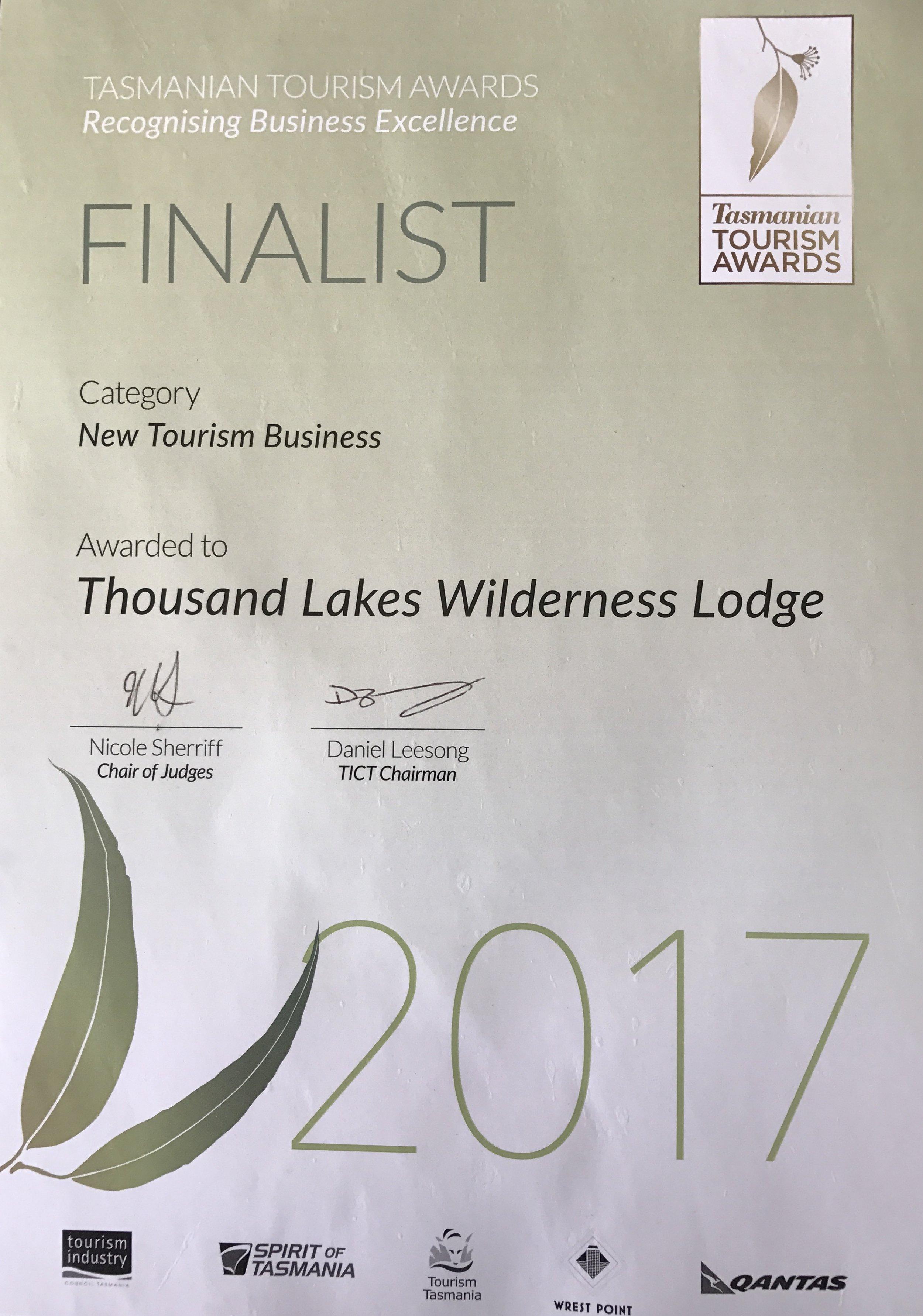 Thousand Lakes Lodge Tourism Award