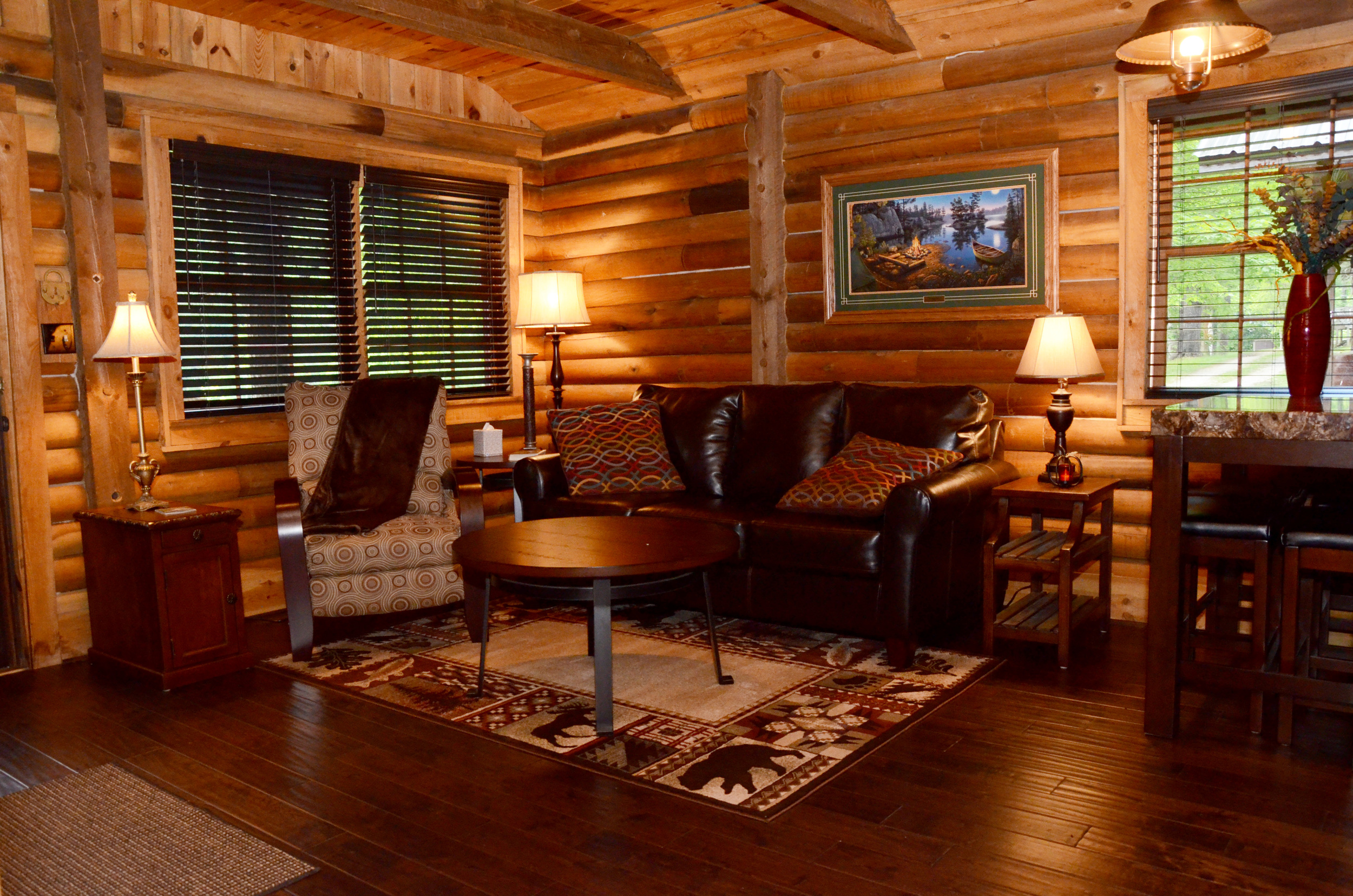 Cozy Lake Front Cabin Living Area.jpg