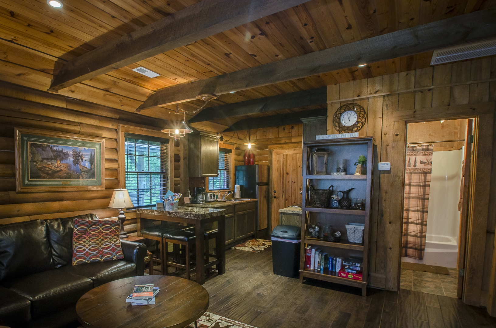Cozy Cabin Living Area and Kitchen