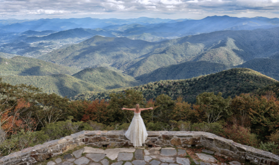 FLoat Above the clouds on your wedding day - Wayah Bald, overlooking the Nantahala National Forest, is a truly picture-perfect location for your wedding ceremony. Just 10 miles from the Nantahala Wedding & Events reception venue.