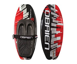 Knee Board - Kneeboarding is an aquatic sport where the participant is towed on a buoyant, convex, and hydrodynamically shaped board at a plaining speed, most often behind a motorboat. In the usual configuration of a tow-sport kneeboard, riders kneel on their heels on the board, and secure themselves to the deck with an adjustable Velcro strap over their thighs. Most water ski kneeboards do not have fins to allow for easier surface spins. The advantages of kneeboarding versus other tow-sports seems to be an easier learning curve and a sense of being closer to the water when falls occur.