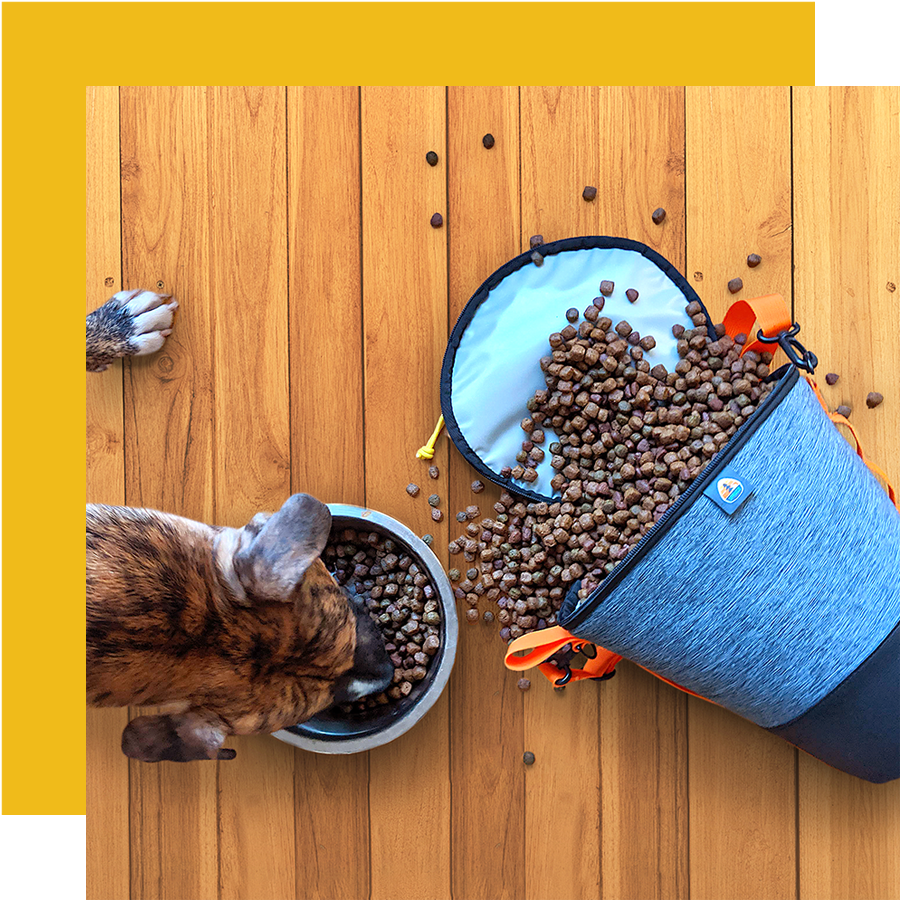Weekender food bag - The Spruce Weekender is an all-in-one dog food storage solution dedicated for travel. The round top keeps its shape and allows for easy pouring and cleaning, while the rubberized bottom nests inside standard sized bowls.