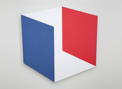Red Blue Parallels  2014 Acrylic on panel     36 x 36 in / 91 x 91 cm