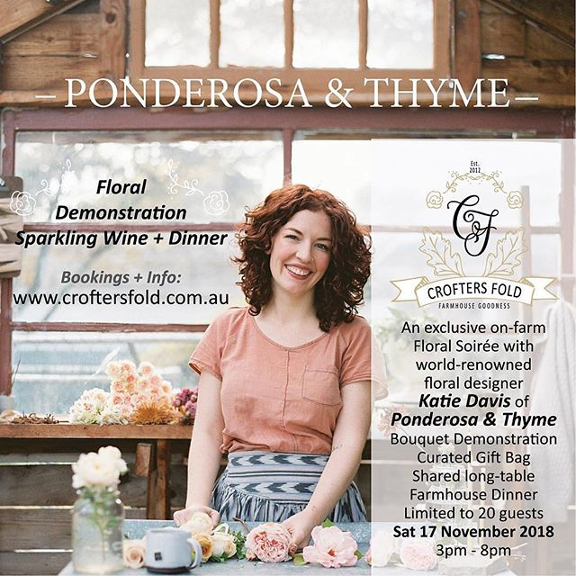 SPECIAL EVENT | For those of you who admire the stunning creativity of world-renowned Katie Davis of @ponderosa_and_thyme and have dreamt of 'one day' maybe getting to see her weave her beautiful floral MAGIC in PERSON - then save the date! 17 Nov 2018, Katie is running a wild 'n' free bouquet demonstration followed by dinner as the special guest of @croftersfold Only 20 places and several have already sold. Save 10% if you book before 31 Aug. Details over on @croftersfold website: www.croftersfold.com.au #sowinggoodseeds #grownnotflown #seasonaloweralliance #consortiumbotanicus @live.love.life.festival @issinstitute