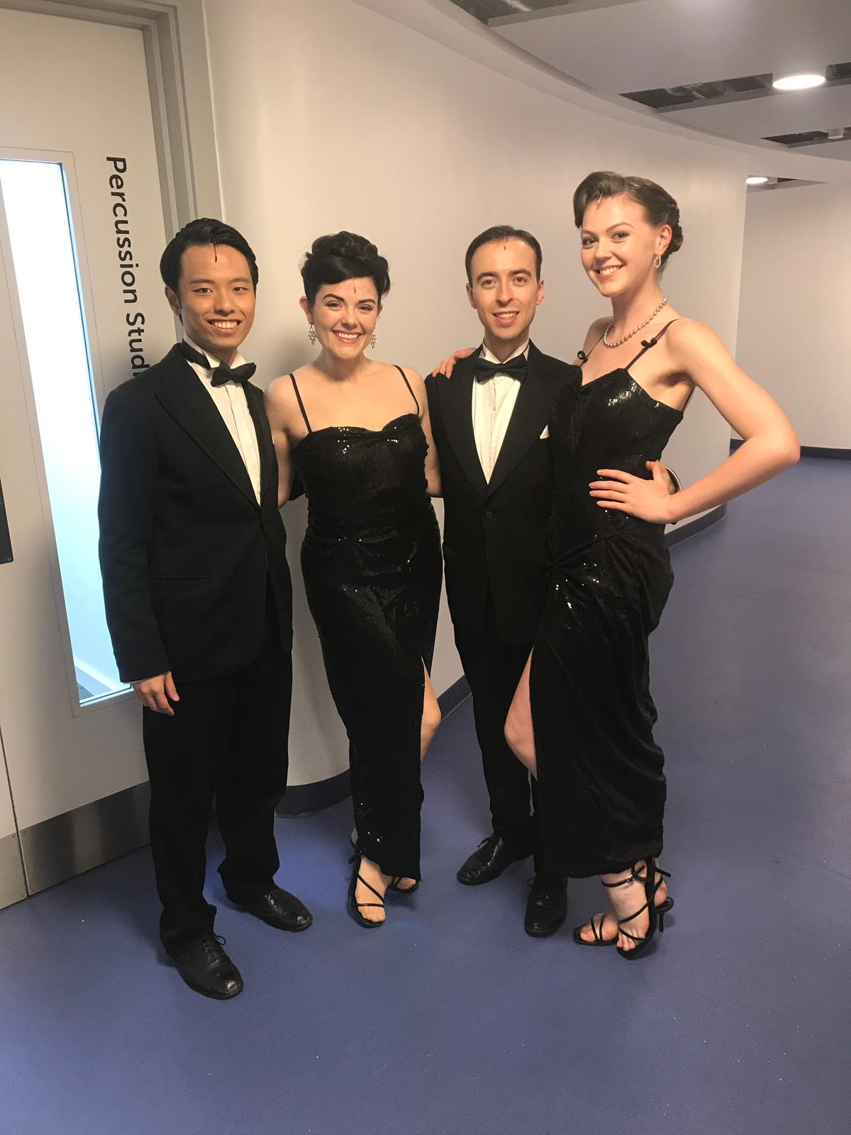 Backstage with the Angel City 4; Edwin Wan, Robert Madge and Amelia Gabriel
