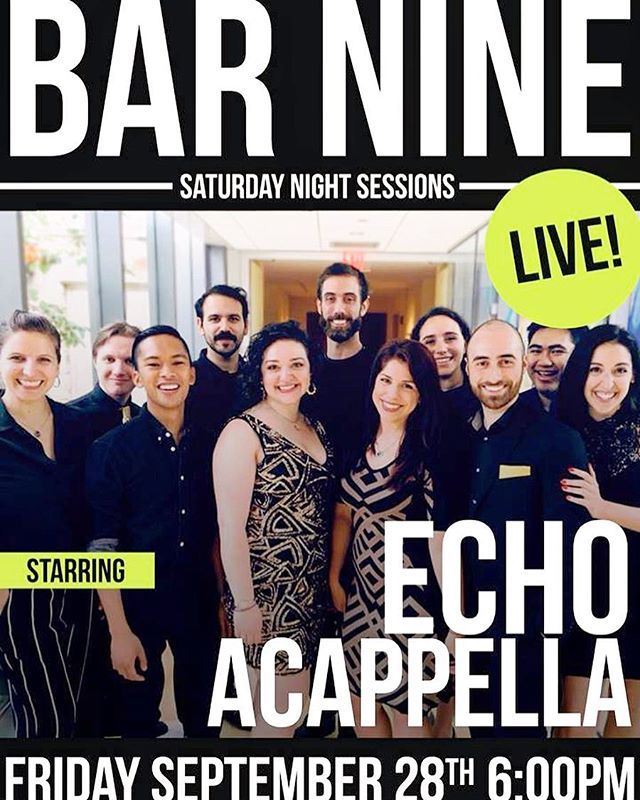 We are performing at #bar9ny again this month! Mark your calendars for September 28th (link in bio) and we hope to see you!!! . . . #music #acappella #performance #show #nycshow #bar #barshow #dance #sing #creative #arts #yas #beyonce #adele #90smusic #2000smusic #cascada #letmeloveyou #hashtag #nymetro #nycmetro #nyc #fun #followme #friends #instamood