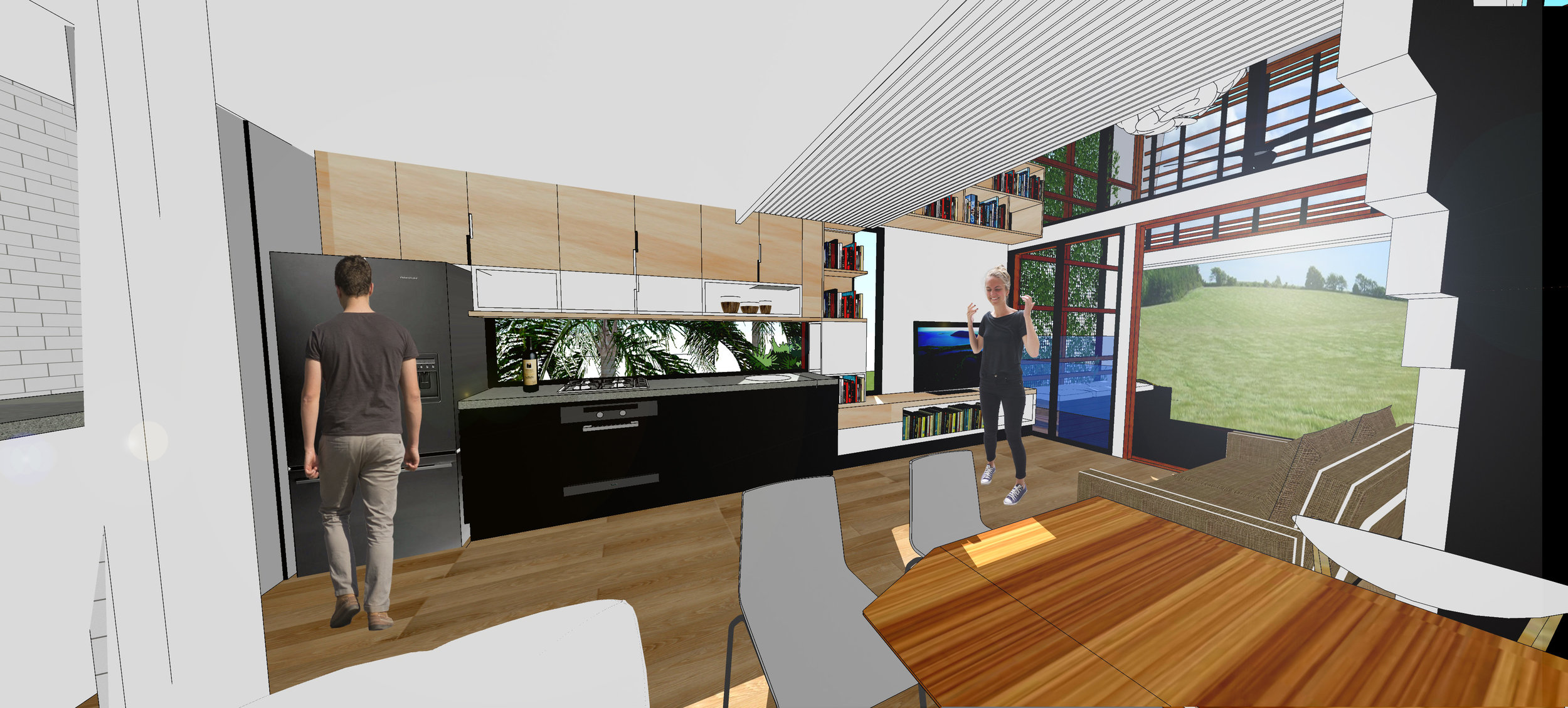 Interior Kitchen/ Lounge View