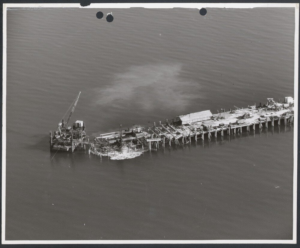Archived aerial photograph of Point Wilson jetty (c.1950) by Royal Victorian Aero Club