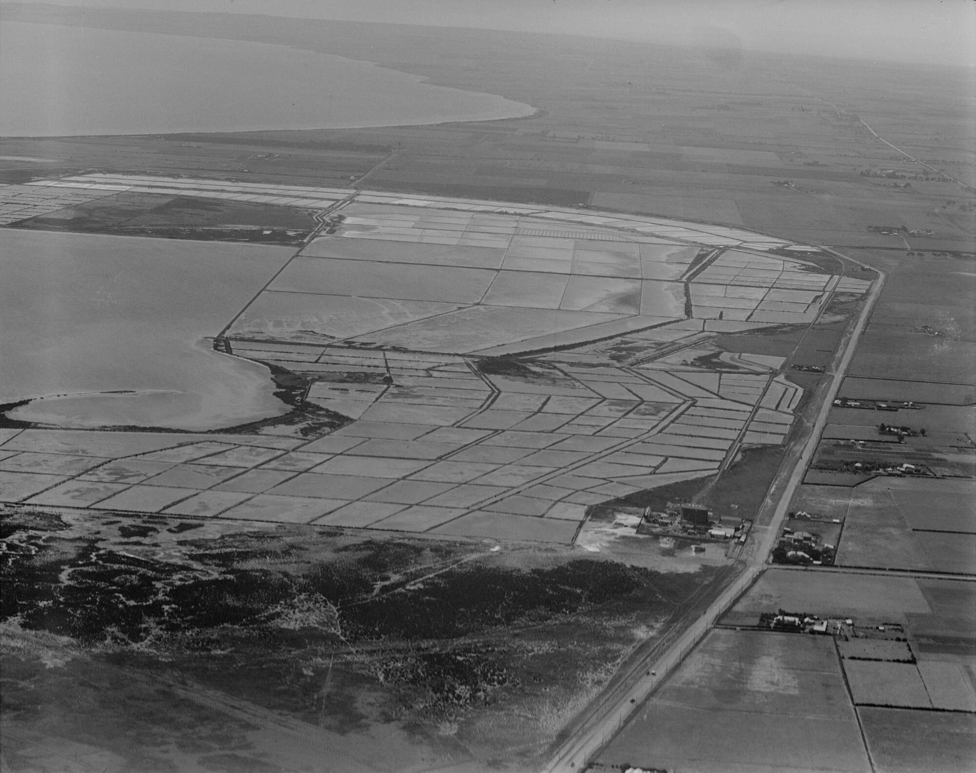 Photographed by Charles Daniel Pratt (27 September 1927)  'Cheetham Salt Works, Geelong, looking east over salt pans'  Photograph provided by  State Library of Victoria