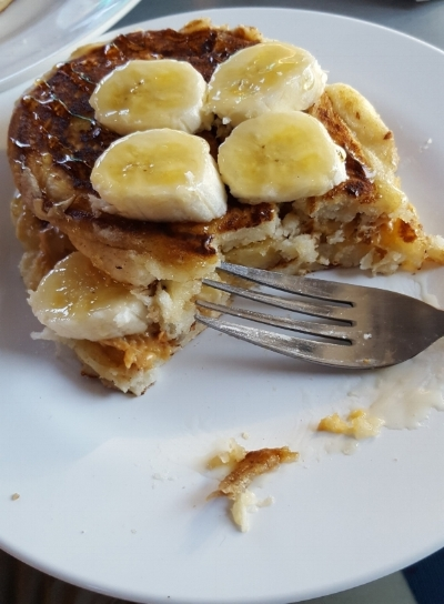 One of our more gourmet meals, peanut butter and banana pancakes for breakfast. Delicious!