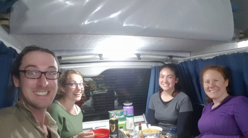 L to R:  Thomas Flanagan , Julie Guenat (visiting student from The University of Lausanne),  Maia Raymundo , and myself). Eating dinner in the campervan.