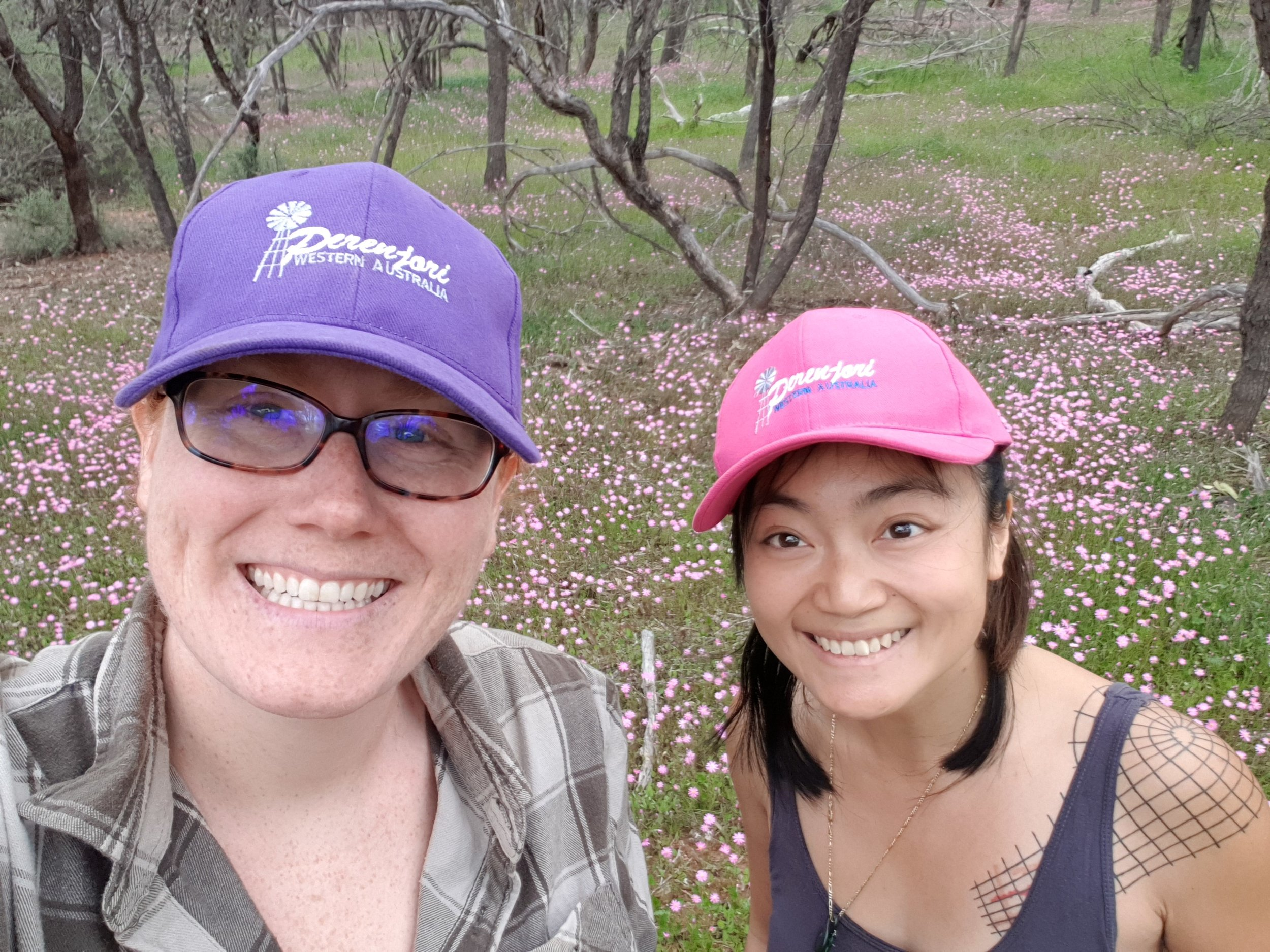 Grace and I at one of the rare blooming sites we found further up north!