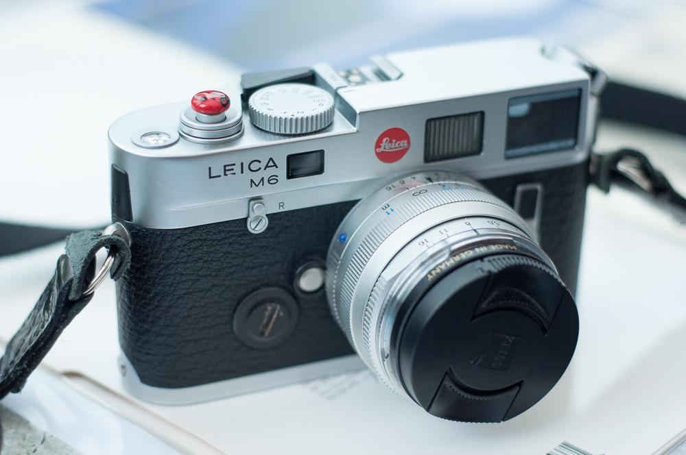 My trusty M series Leica, pictured with Zeiss Sonnar 50mm. Paint damage to the Leica lettering was sustained in the heat of India