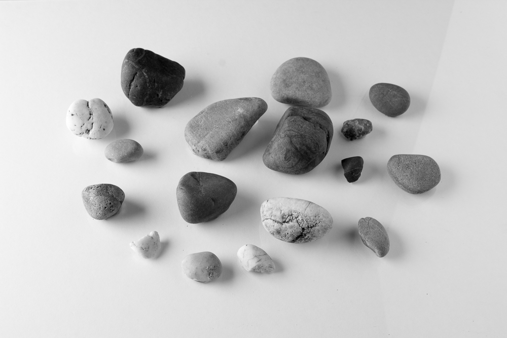 Digital shot of the pebble still life (from raw file, 'auto' applied in Lightroom Develop module)