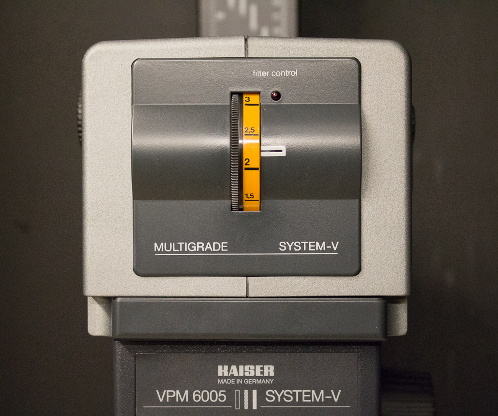 A modern variable contrast enlarger. Changing contrast is easy thanks to the contrast dial (yellow dial, centre of picture)