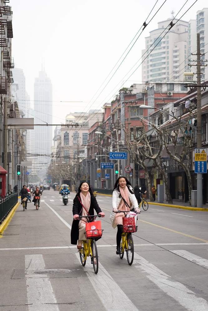Shanghai Cyclists , Sony A7II  An image that perfectly encapsulates for me the  joie de vivre  of Chinese people, especially younger ones. One of my favourite images from the trip.