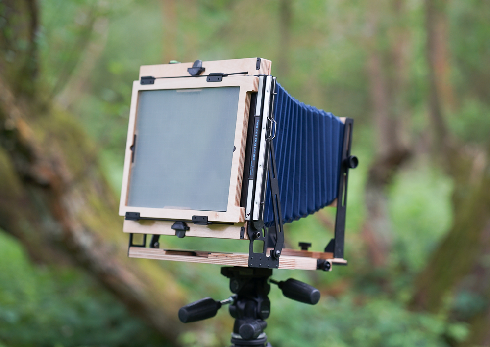 The rear of the camera in portrait orientation, with film holder inserted.