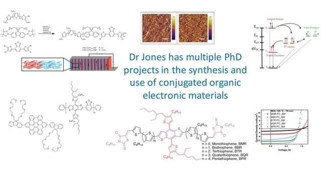 Dr Jones has PhD projects in organic synthesis of conjugated molecules/polymers, and  aligned active layers in organic electronic devices