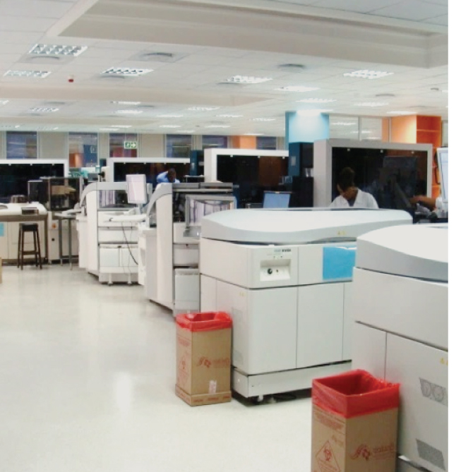 TOTAL LABORATORY AUTOMATION - NHLS, South AfricaEnd-to-end automation implementation for 3 academic reference laboratories with total lab automation including chemistry, immunoassay and hematology.