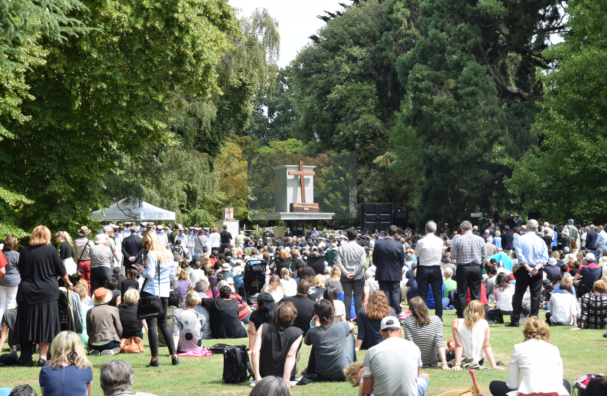 Gathering at the Civic Memorial Service held at midday on Monday, February 22, to mark the fifth anniversary of the 2011 earthquake in Christchurch's Botanical Gardens