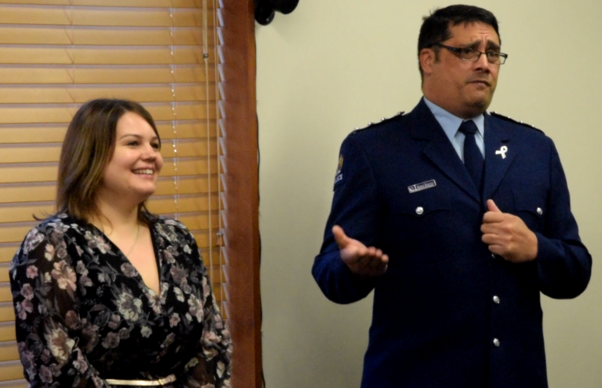 Inspector Hirone Waretini, in-charge of Canterbury Police Maori, Pacific and Ethnic Services Group (MPES), and his team motivating the attendees to join the police