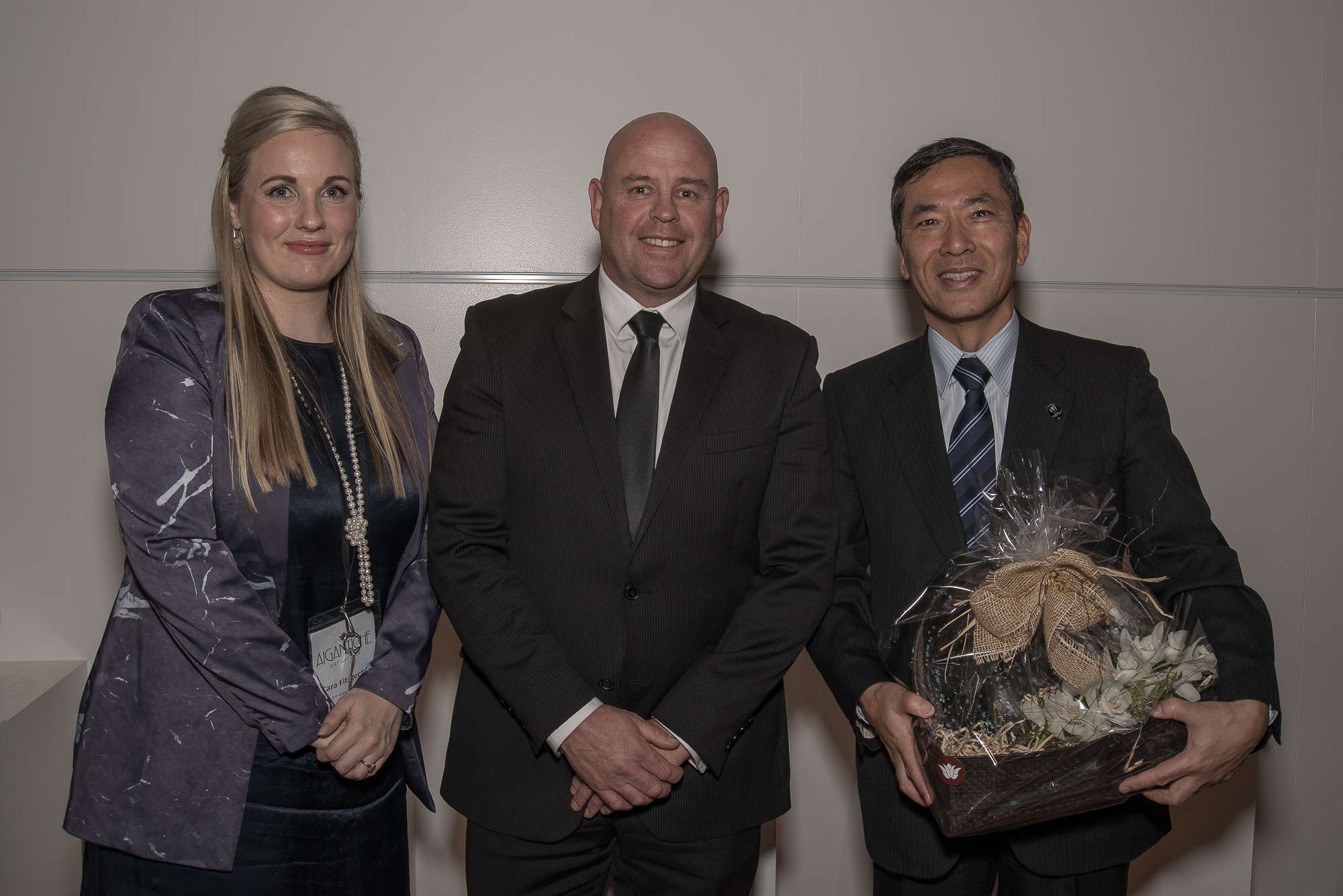 Art Gallery Manager Cara Fitzgerald, Mayor of Timaru Damon Odey, the Ambassador of Japan His Excellency Toshihisa Takata at the opening of Japanese Pottery: The Rising Generation from Traditional Japanese Kilns exhibition at the Aigantighe Art Gallery Timaru onJuly 1, 2016. All pictures are courtesy Ron Lindsay and Aigantighe Art Gallery.