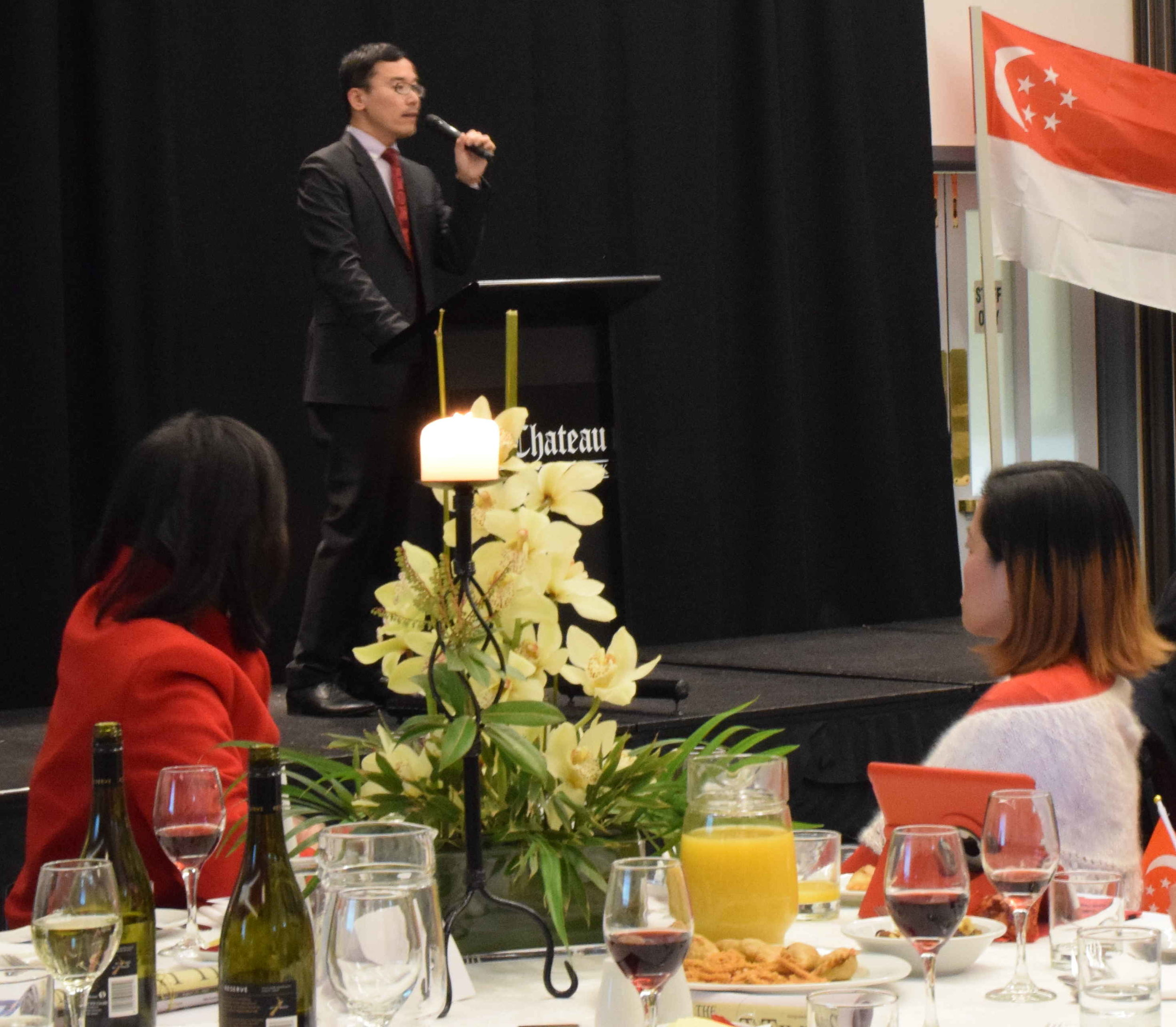 Ang Seow Wei, Deputy High Commissioner at High Commission of Singapore in New Zealand, addressing the gathering