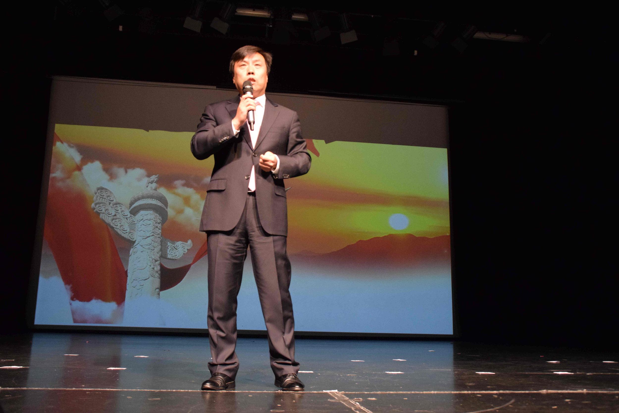 China's Consul General in Christchurch Jin Zhijian addressing the gathering