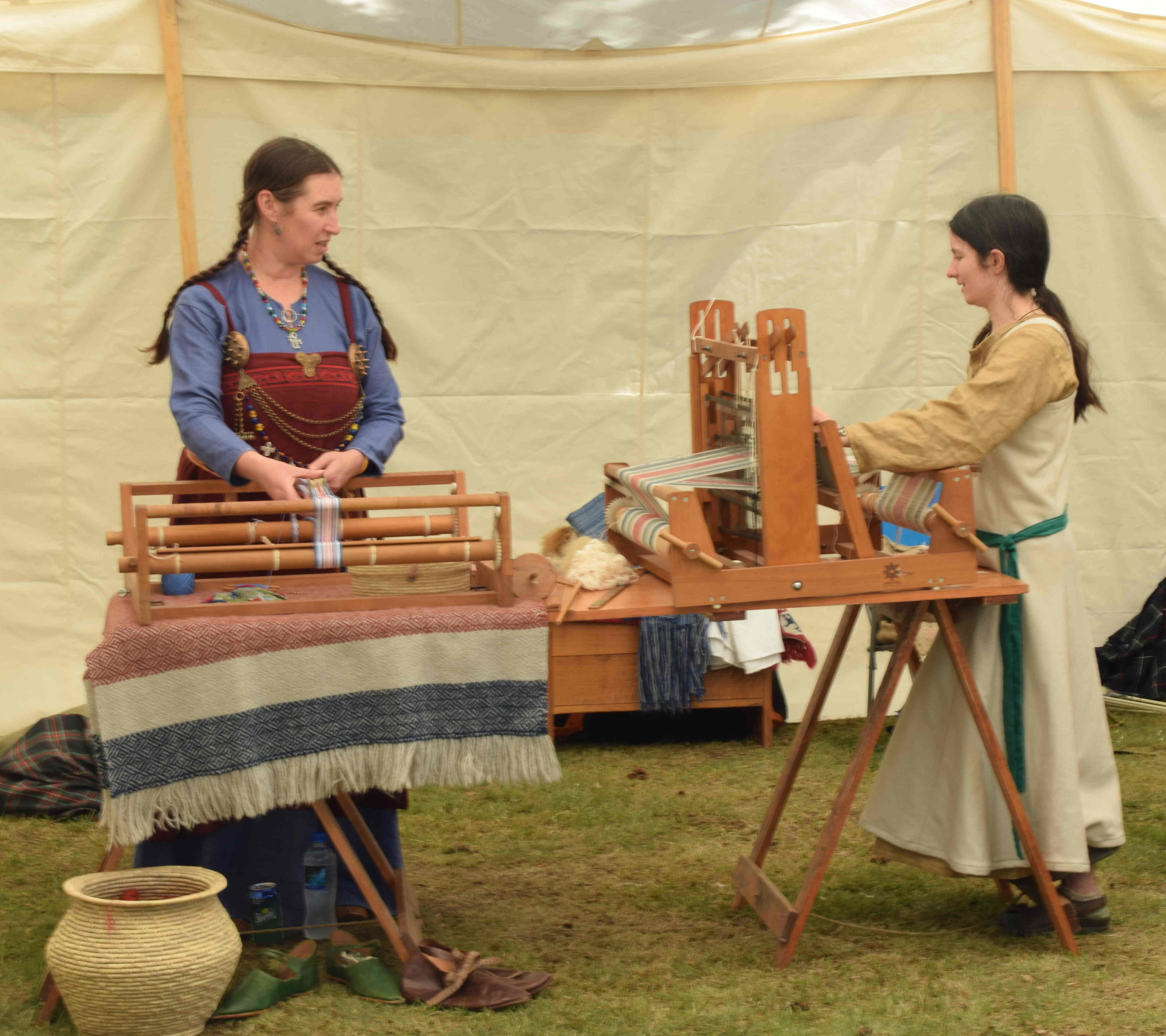 Showcasing the medieval times by the Society of Creative Anachronism; medieval objects, weapons, armour, tableware, clothing and furniture was on display; (below) combat demonstrations
