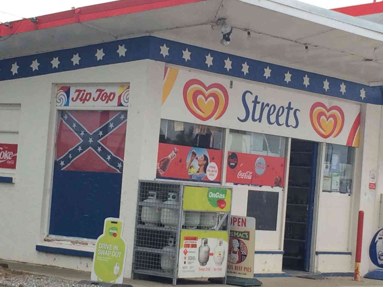 """But before we move further, a place of interest is Maheno Service Centre, just few kilometres from the Clarks Mill. The display of the Confederate flag, which in modern times has come to be associated with """"white supremacy"""", is noticeable."""