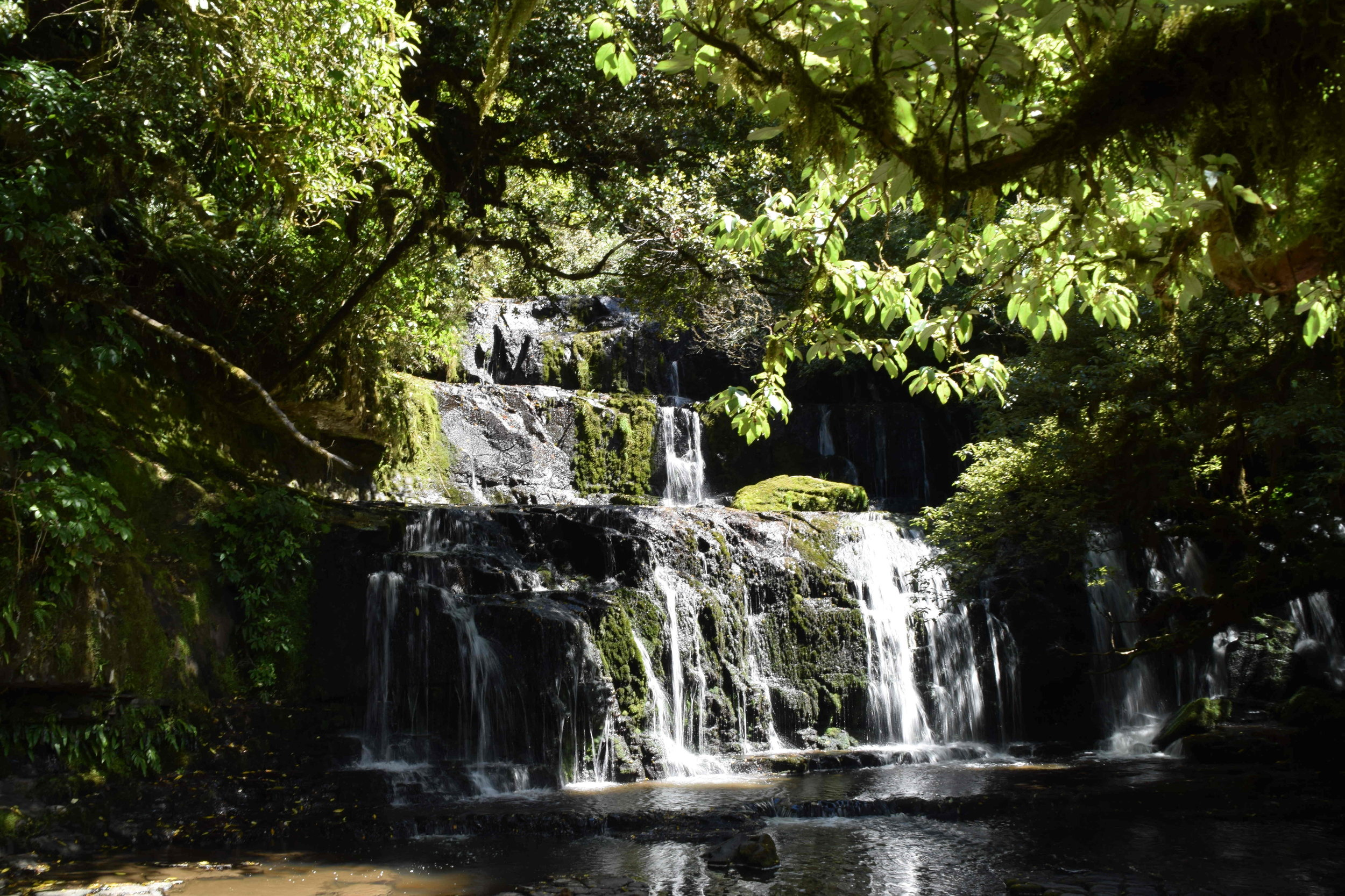 The three-steps of Purakaunui Falls, which is the most photographed waterfall in the country.  Ask for the tide timings if planning to visit the Cathedral Caves.