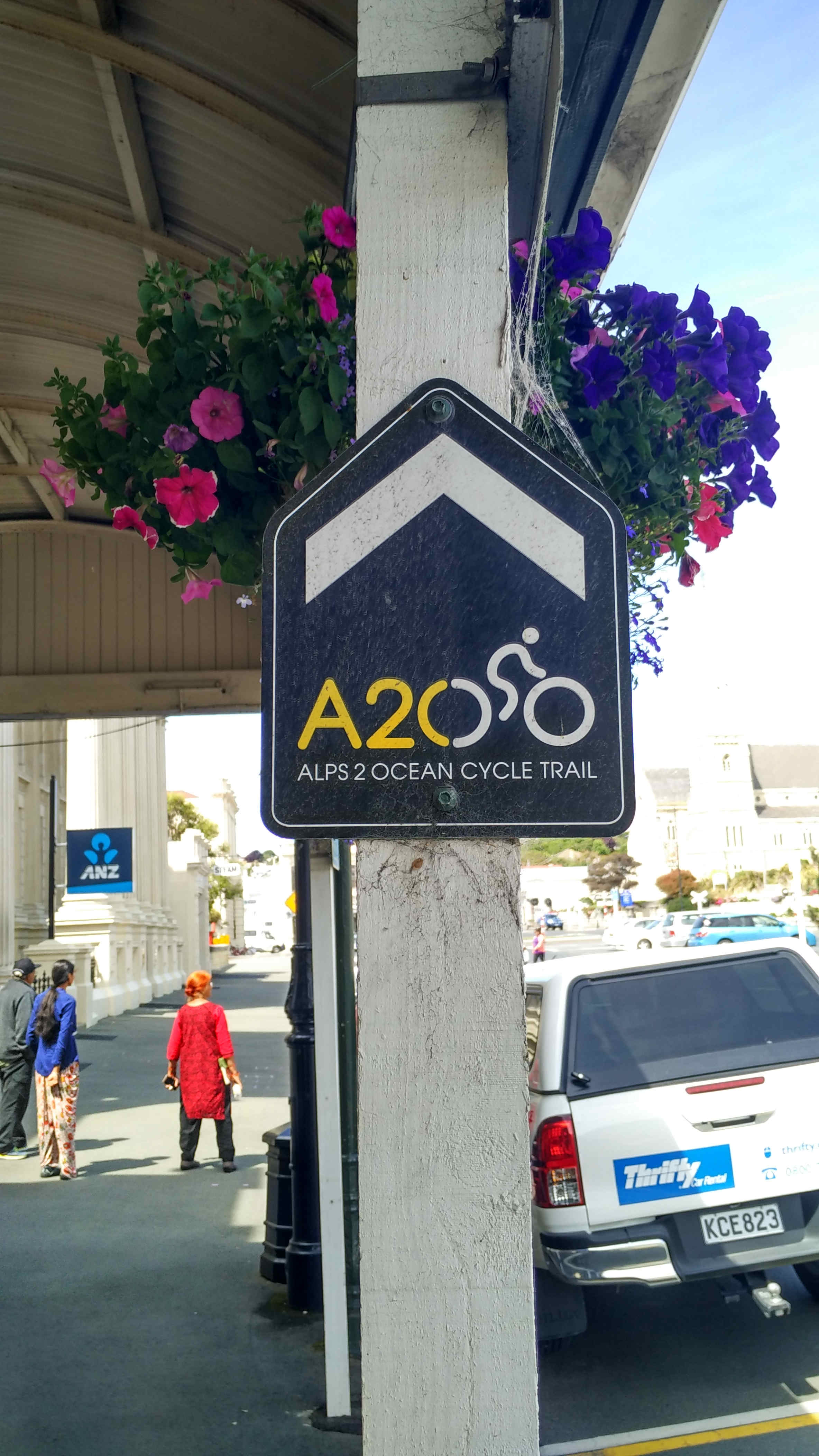 """Alps 2 Ocean Cycle Trail signs. From Mount Cook to Oamaru.  The organisers describe the trail as """"New Zealand in all its colour and beauty - from our highest mountains, past great lakes and rivers, and down to the ocean. Suitable for all ages, the 9 section bike trail is an easy to intermediate grade, linking the Southern Alps to the Pacific Ocean. Allow 4-6 days for the entire ride, or simply try a day excursion. Whichever option you choose, the A2O Cycle Trail is sure to be a memorable experience""""."""