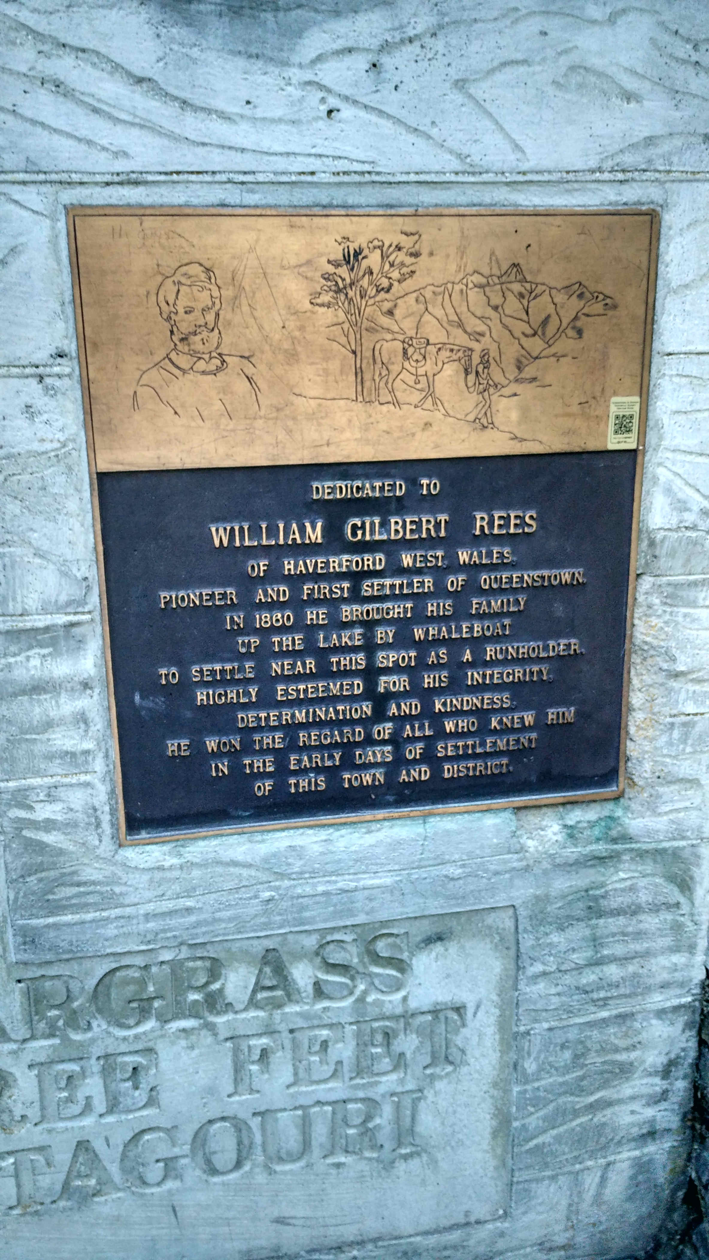 Dedicated to William Gilbert Rees, the first settler of Queenstown.  In Queenstown Gardens.  Also in the Gardens is the Frisbee Golf (picture 33). Try it while you are there.