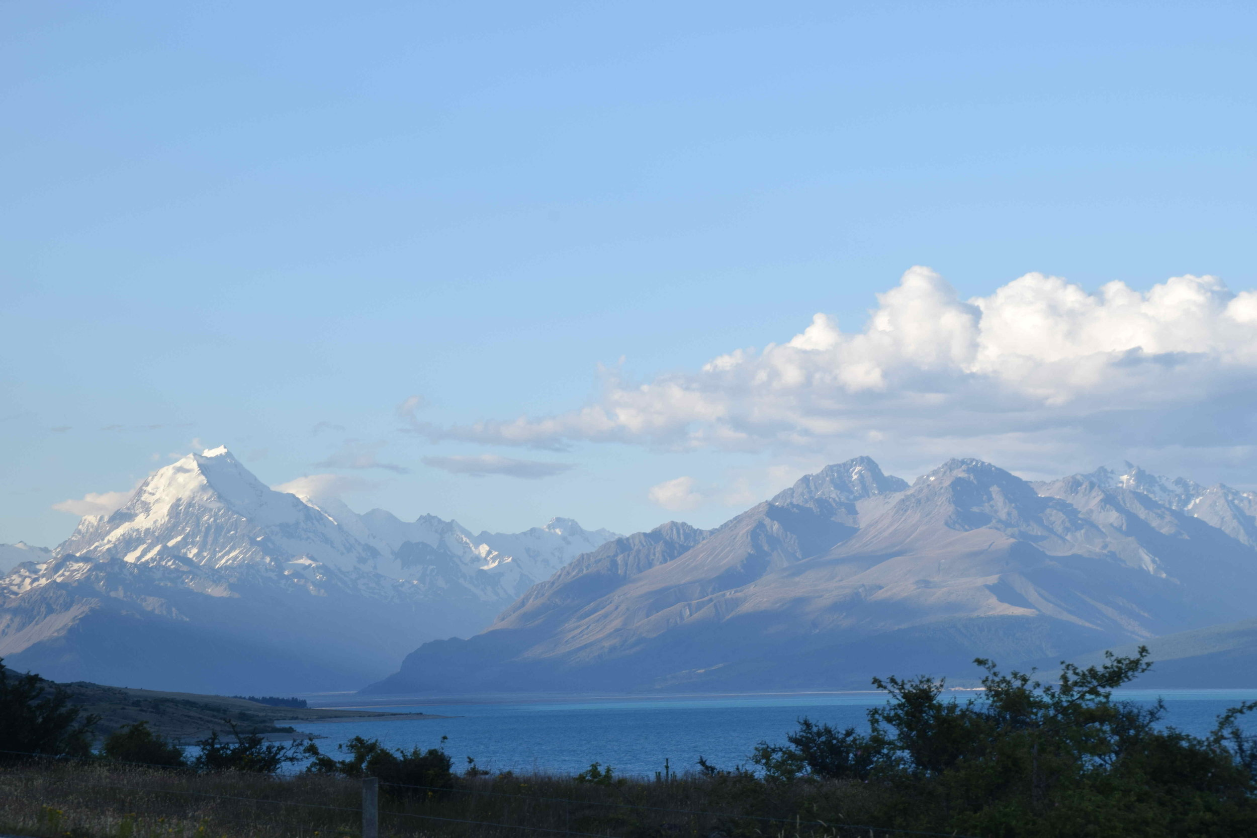 Mount Cook and Lake Punakaiki on a sunny day.