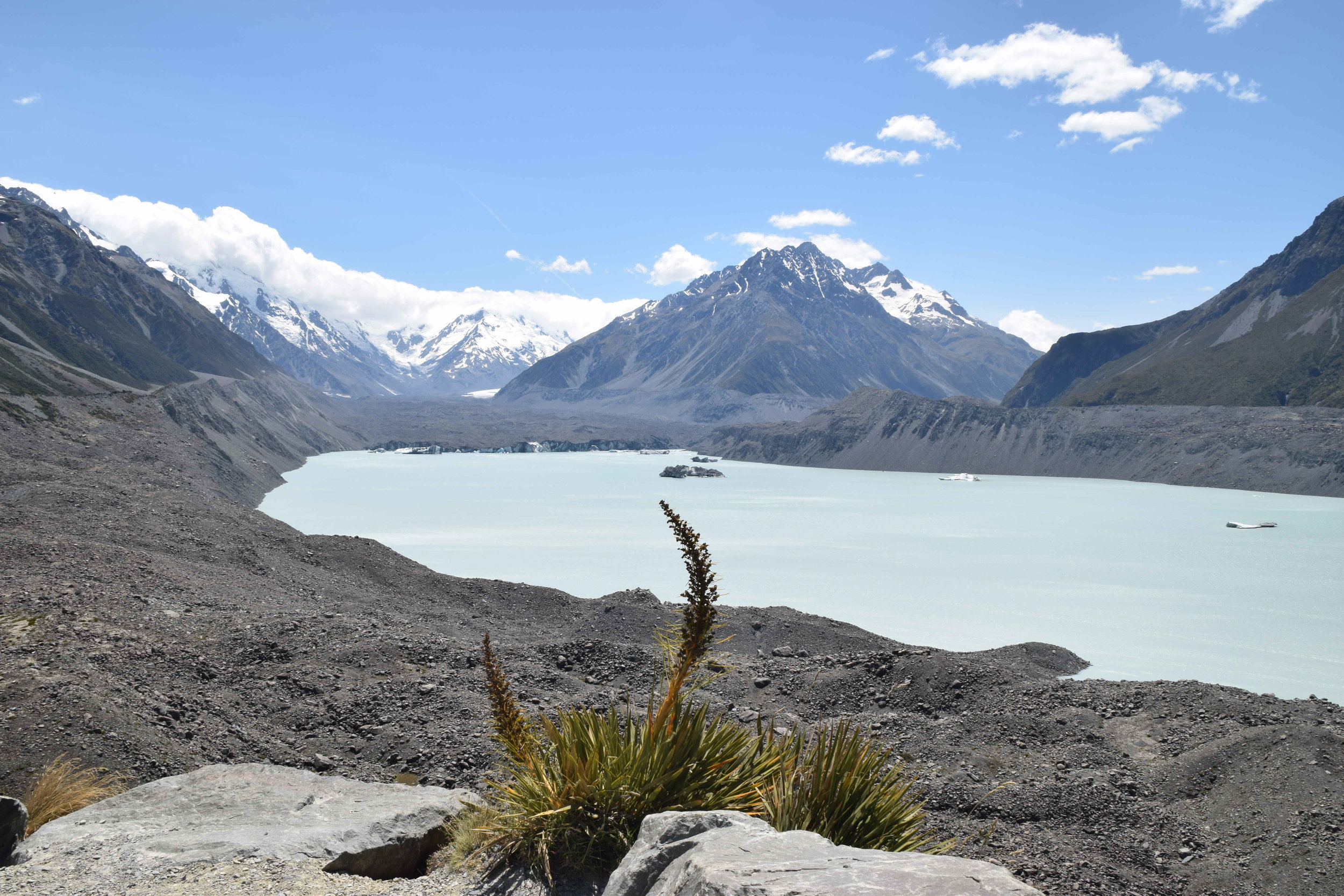 Lake Tasman, which was not there in the 1970s and is now seven kilometres long and deeper than Lake Pukaki. This is a result of the Tasman Glacier's retreat.