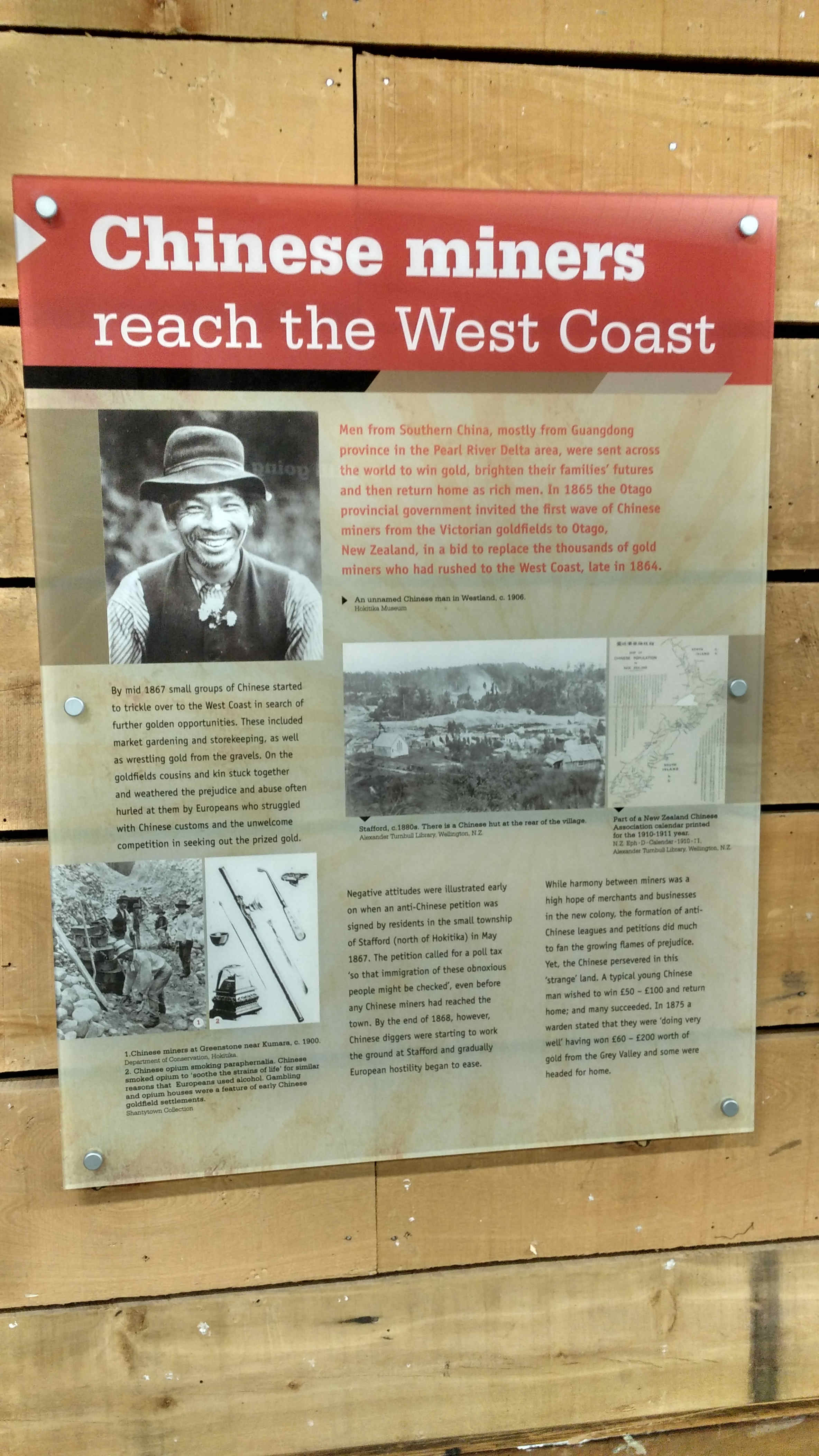 History of Chinese miners in Reefton's i-site.