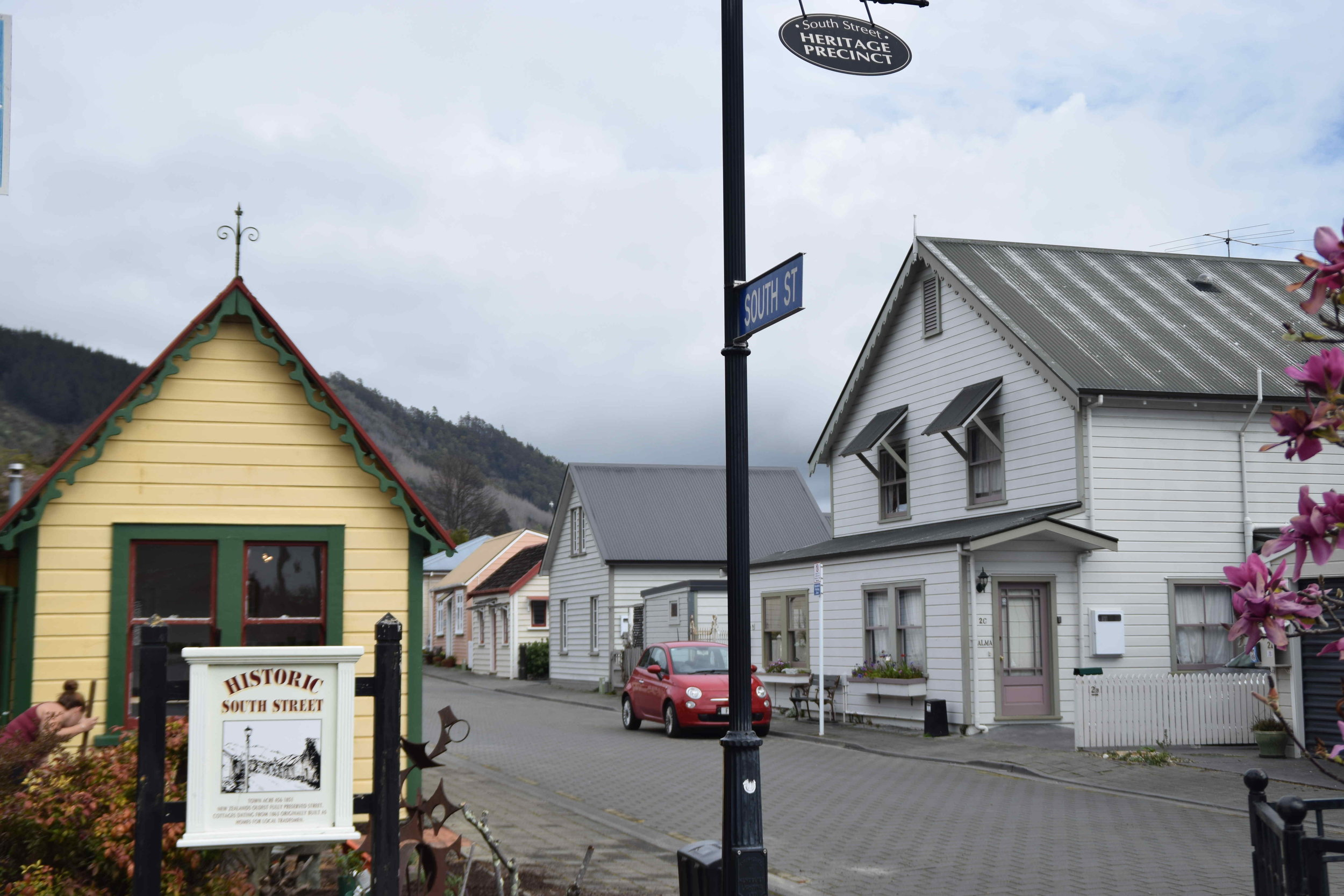 Historic South Street in Nelson. New Zealand's oldest fully preserved street. Cottages dating from 1863 orginally built as homes for local tradesmen.