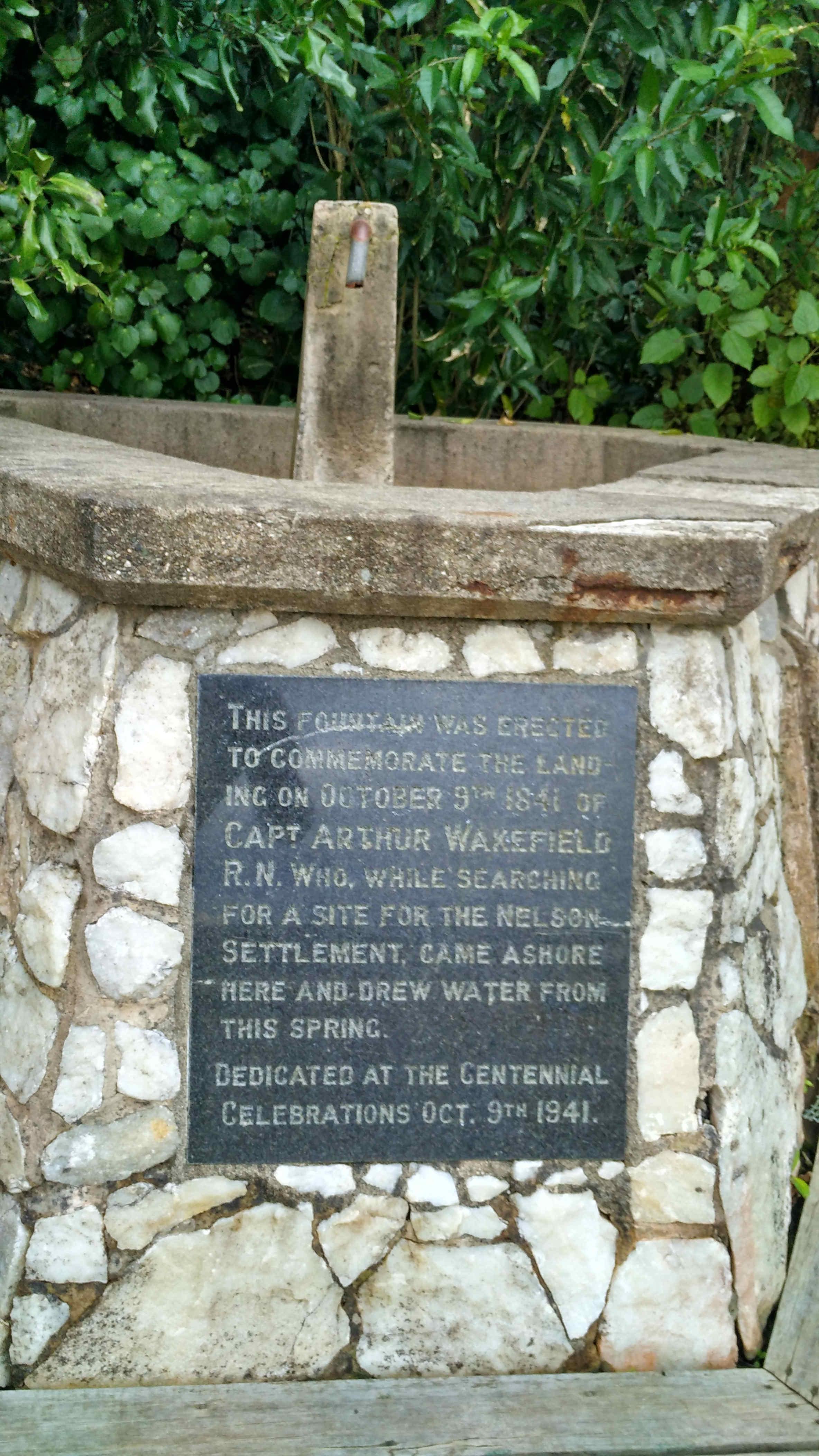 Commemorating the landing of Captain Arthur Wakefield in Nelson in 1841.