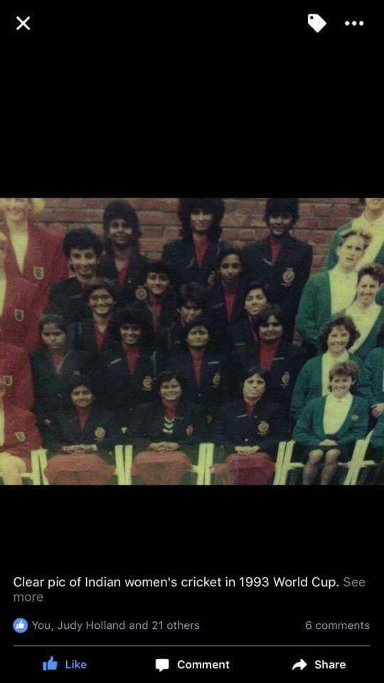 Indian women cricket team in 1993 World Cup; Ms Rajesh Nayyar is first from right in the second row (picture courtesy: Nayan Nayyar)