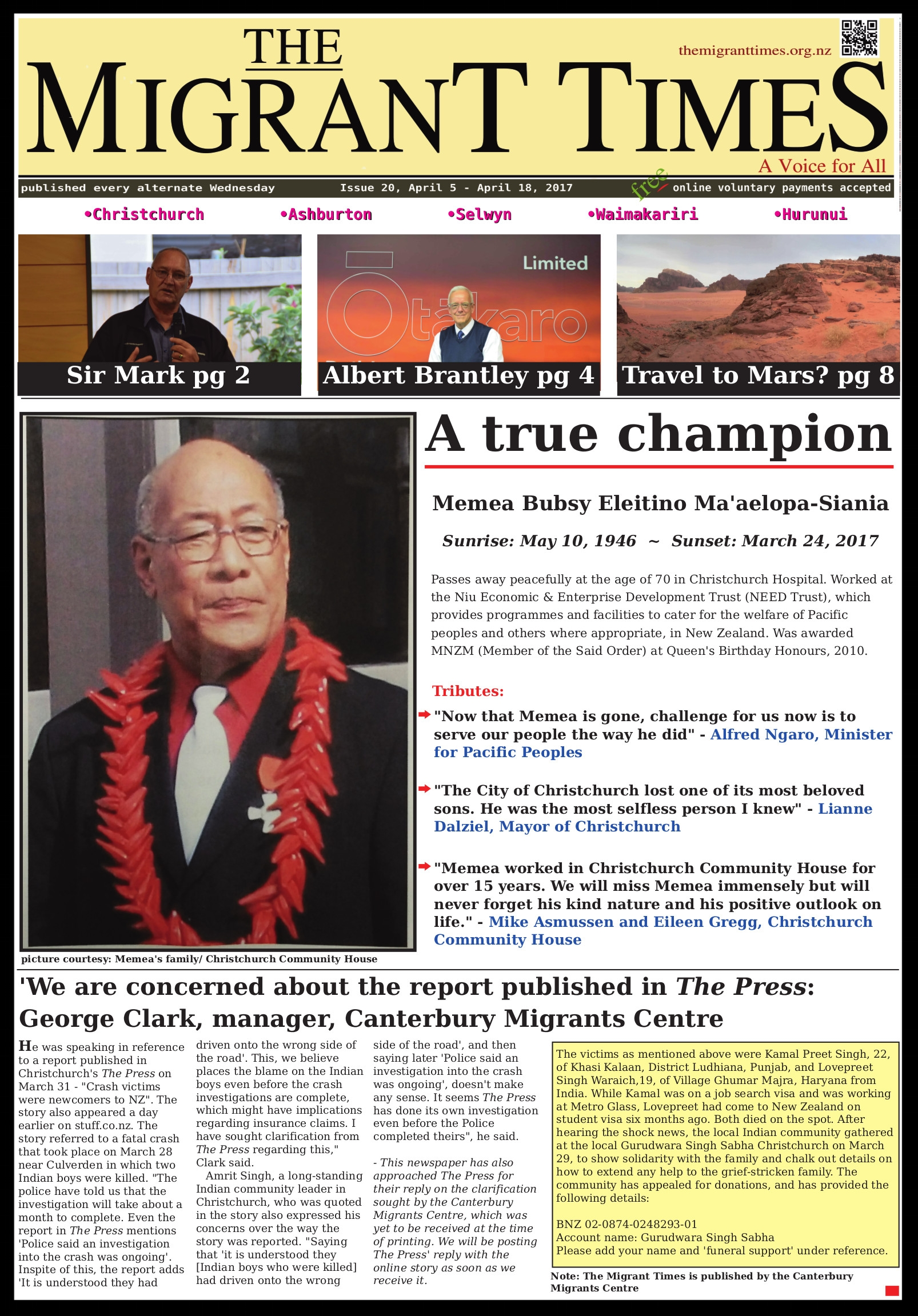 Click on the image to read the pdf version    Issue 20, April 5 - April 18, 2017