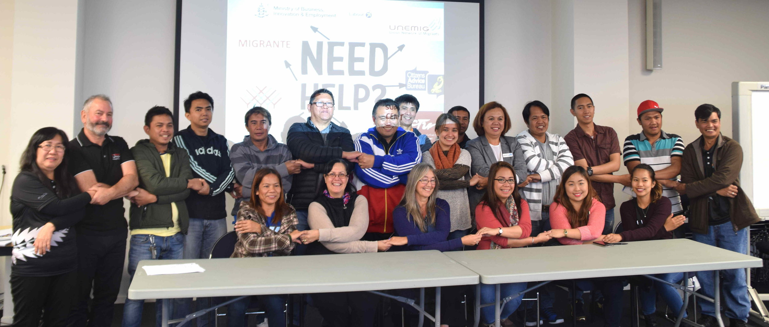 Gathering at the post arrival orientation seminar organised by the United Network of Migrants, and Migrante Aotearoa in Christchurch on March 26. Representatives from First Union (Paul Watson), and Ashburton's first district councillor of Philippine origin Thelma Bell, also attended the event.