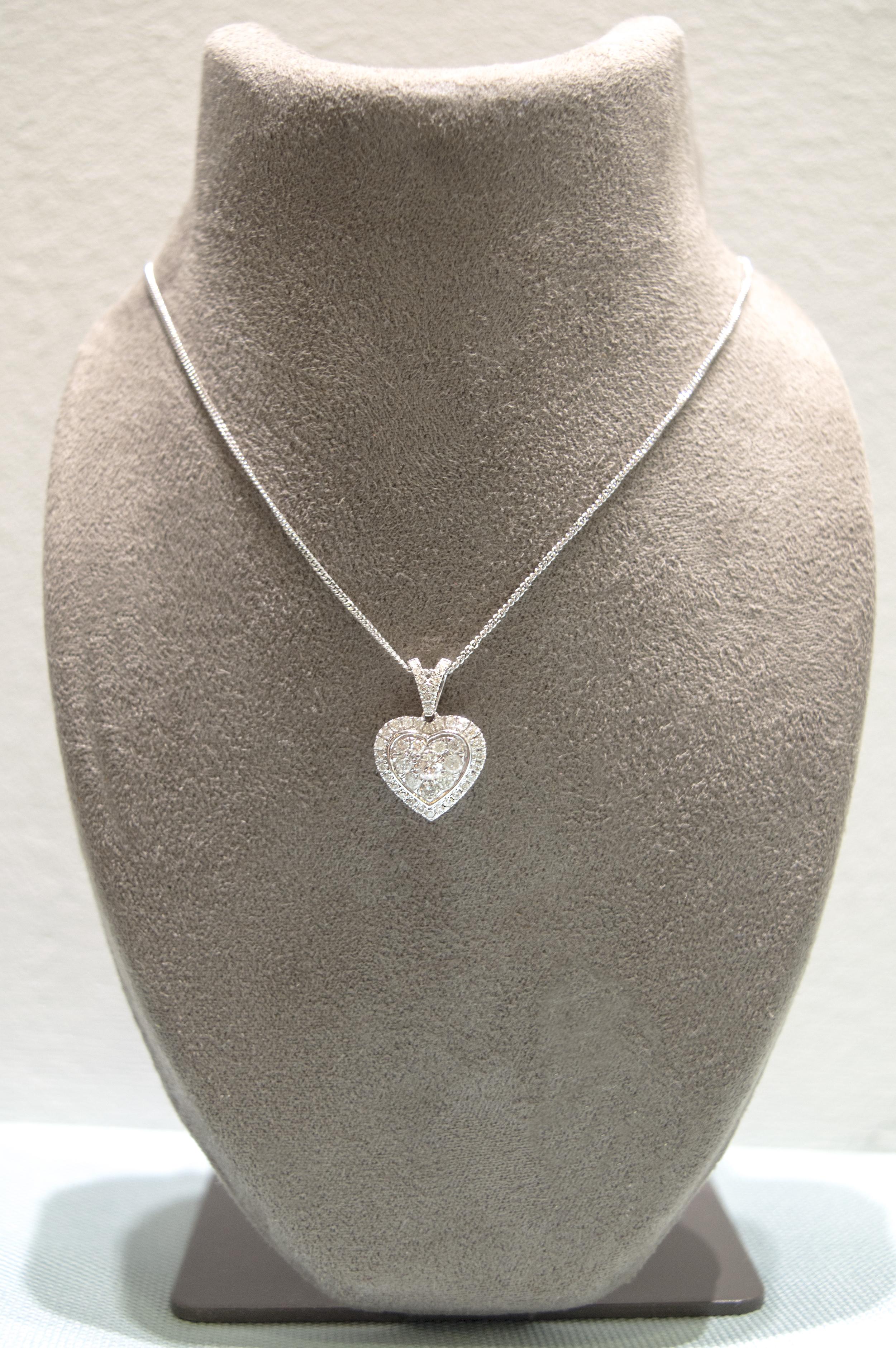 £785 - Diamond White Gold Sweetheart Pendant