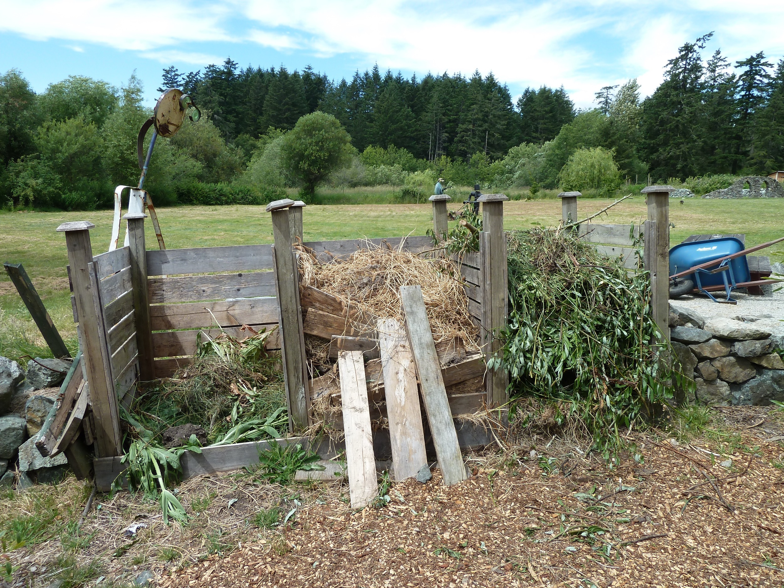 Compost heaps at one of my favourite gardens on Vancouver Island: The Hort Centre of the Pacific in Victoria.