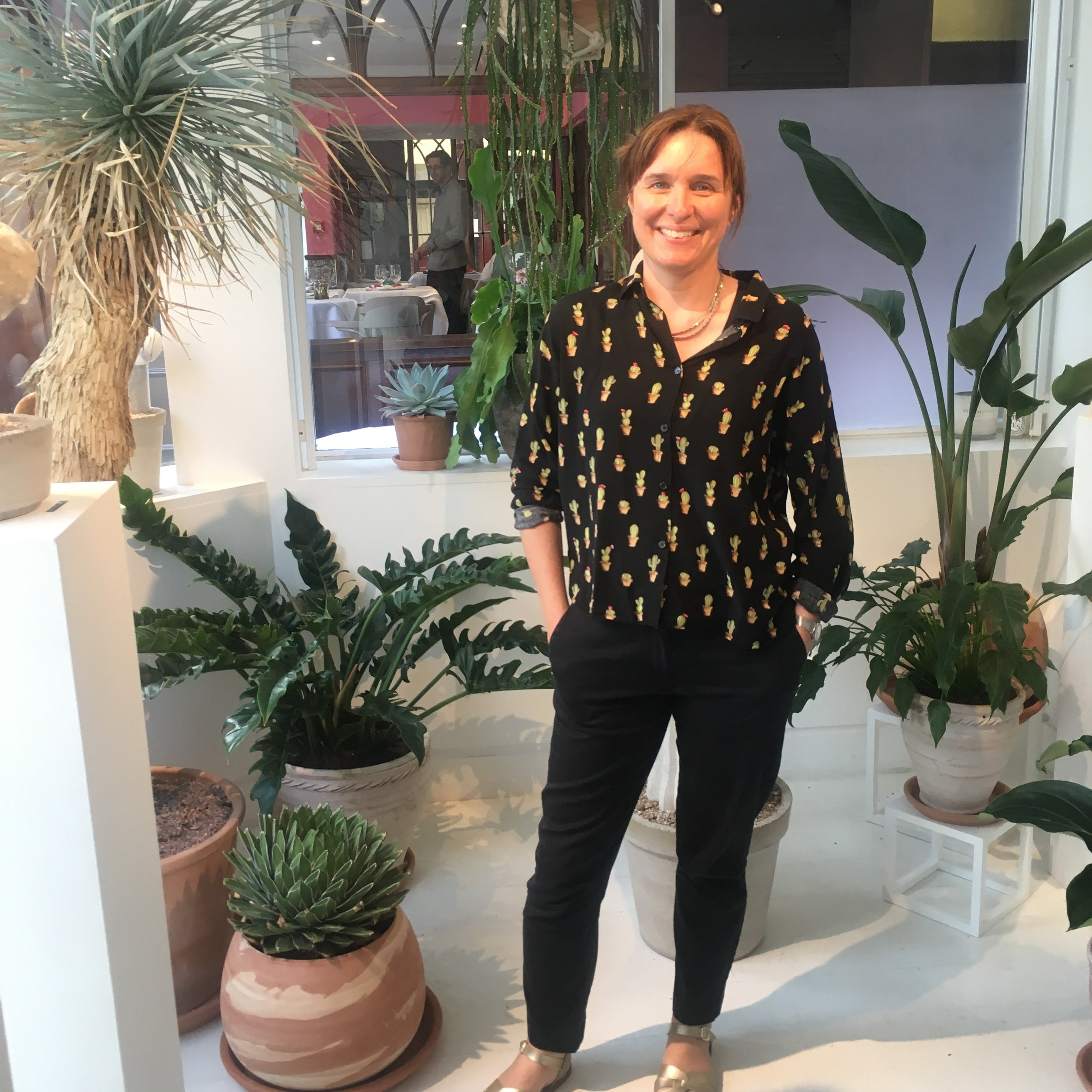Showing off the spines in my cactus shirt at Ben Russell's Cactus House exhibition. Photograph: Fiona Russell.