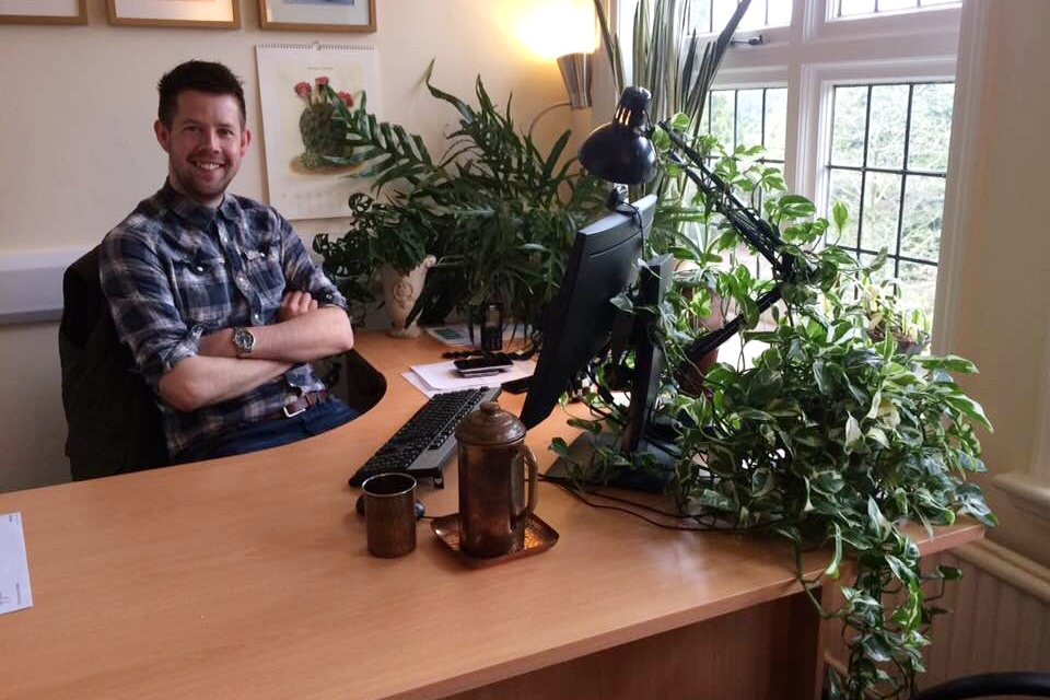 Matthew Pottage in his office at RHS Wisley.