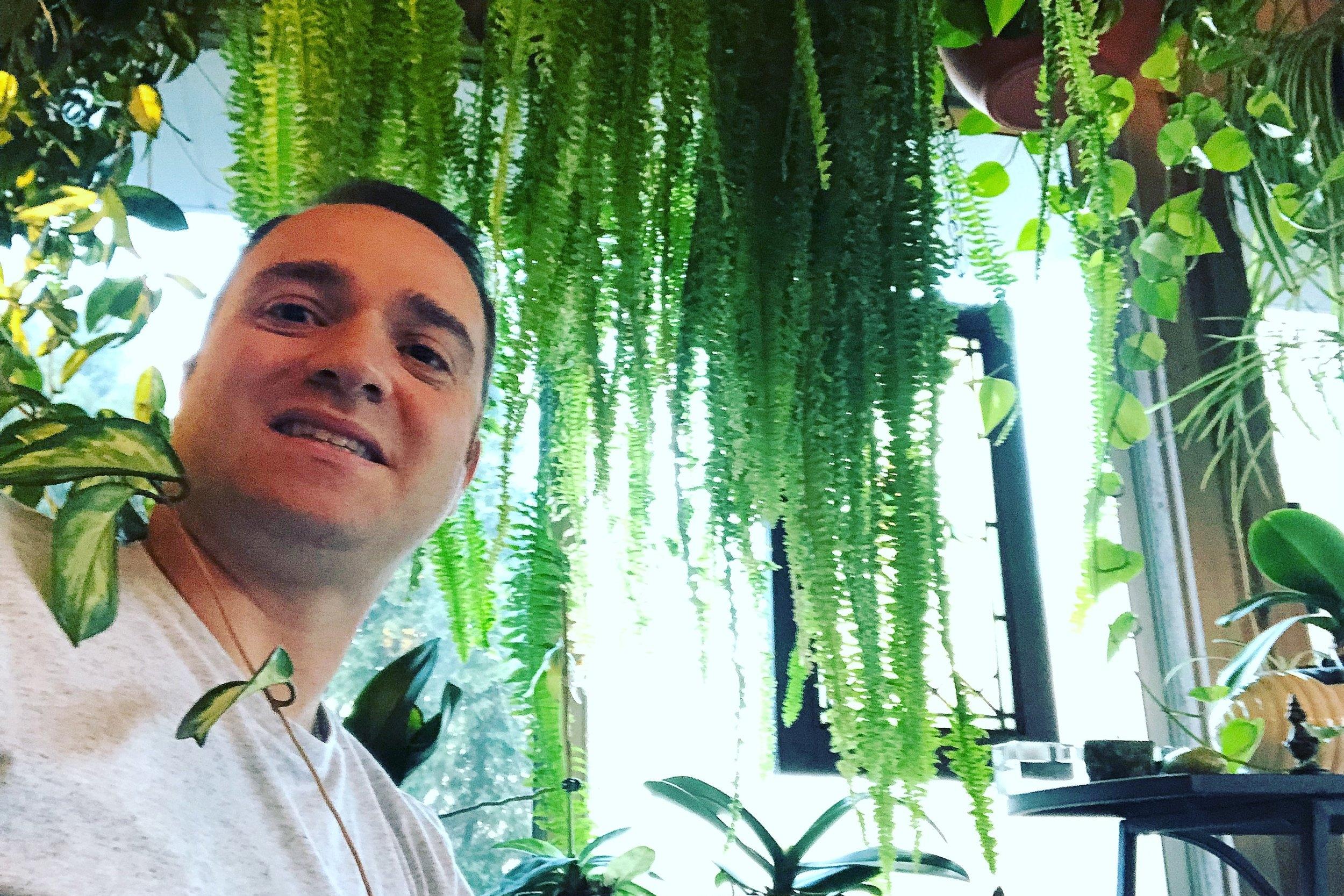 'Hello, my name is fern!' Raffaelle with his massive fern. Photograph: Rafaelle di Lallo.