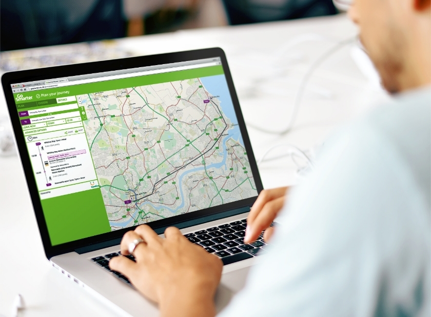 The journey planner allows users to plan a multi-modal journey across the North East